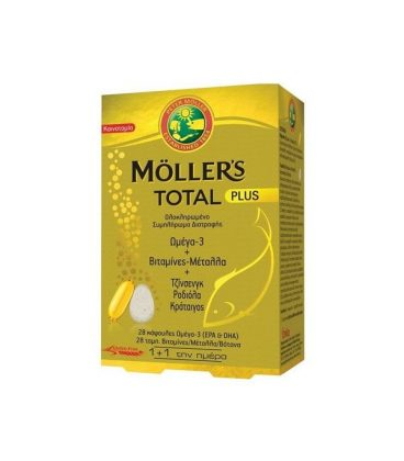 Moller's Total Plus Omega 3 + Vitamins + Minerals + Gingseng + Rhodiola + Hawthorn 28 caps & 28 tbs