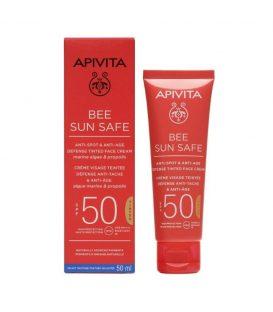 APIVITA Bee Sun Safe Κρέμα Προσώπου κατά των Πανάδων & των Ρυτίδων με Χρώμα SPF50 50ml